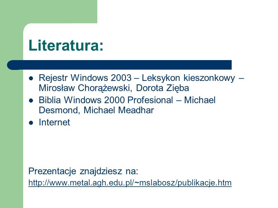 Literatura: Rejestr Windows 2003 – Leksykon kieszonkowy – Mirosław Chorążewski, Dorota Zięba Biblia Windows 2000 Profesional – Michael Desmond, Michae