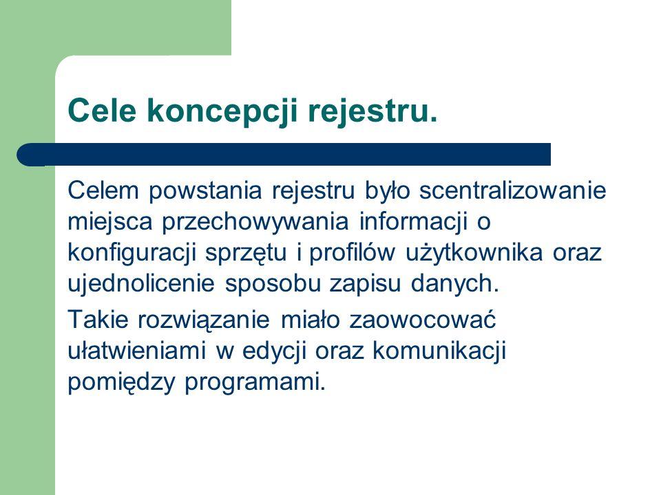 Cele koncepcji rejestru. Celem powstania rejestru było scentralizowanie miejsca przechowywania informacji o konfiguracji sprzętu i profilów użytkownik