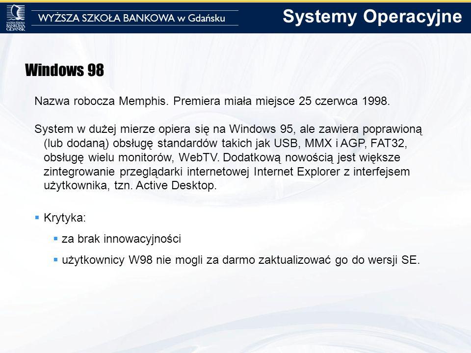 Windows 98 Nazwa robocza Memphis. Premiera miała miejsce 25 czerwca 1998. System w dużej mierze opiera się na Windows 95, ale zawiera poprawioną (lub