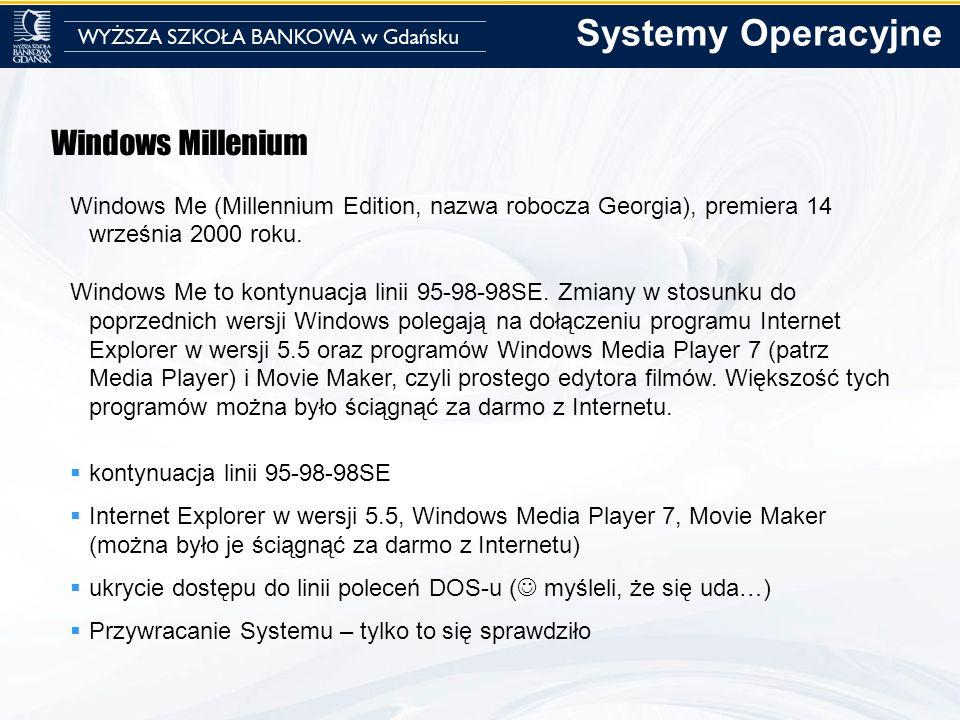 Windows Millenium Windows Me (Millennium Edition, nazwa robocza Georgia), premiera 14 września 2000 roku. Windows Me to kontynuacja linii 95-98-98SE.