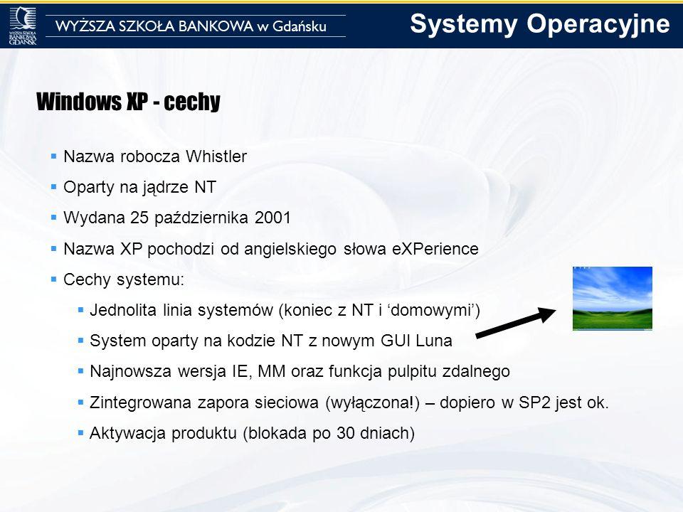 Windows XP - cechy Nazwa robocza Whistler Oparty na jądrze NT Wydana 25 października 2001 Nazwa XP pochodzi od angielskiego słowa eXPerience Cechy sys