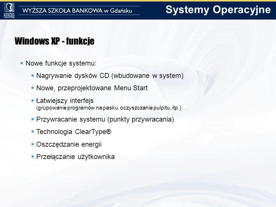 Windows XP - funkcje Nowe funkcje systemu: Nagrywanie dysków CD (wbudowane w system) Nowe, przeprojektowane Menu Start Łatwiejszy interfejs (grupowani