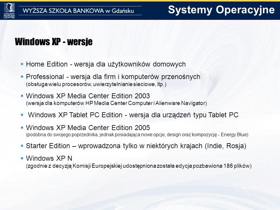 Windows XP - wersje Home Edition - wersja dla użytkowników domowych Professional - wersja dla firm i komputerów przenośnych (obsługa wielu procesorów,