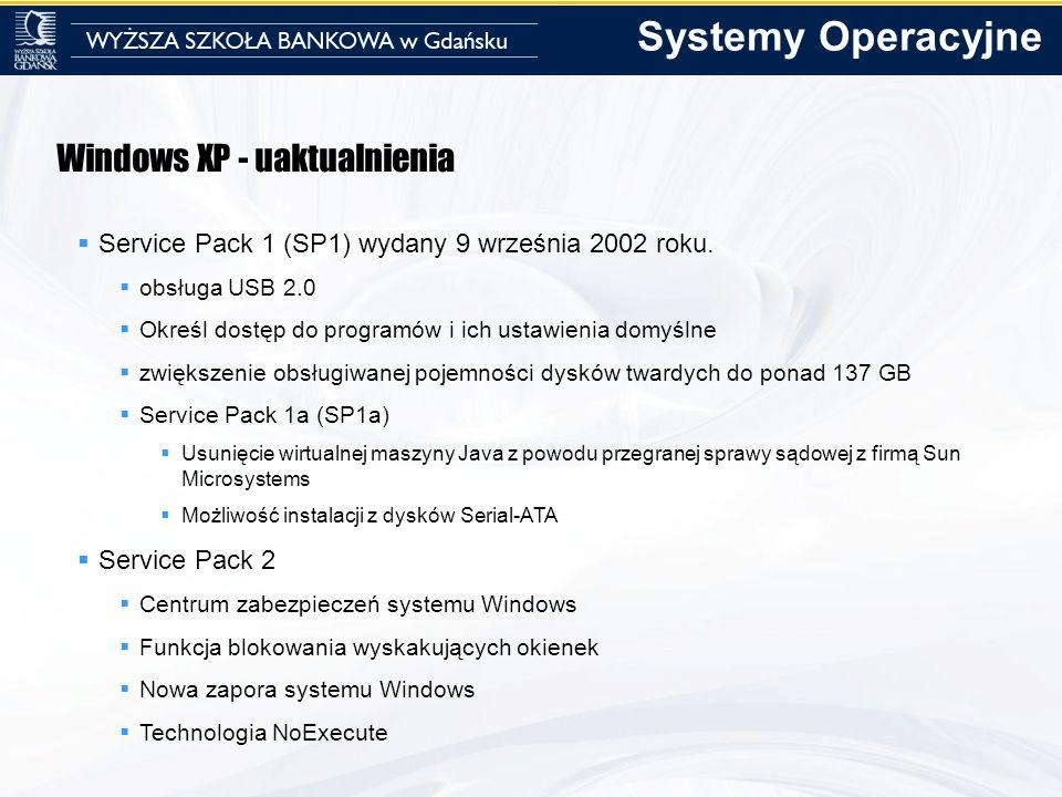 Windows XP - uaktualnienia Service Pack 1 (SP1) wydany 9 września 2002 roku. obsługa USB 2.0 Określ dostęp do programów i ich ustawienia domyślne zwię