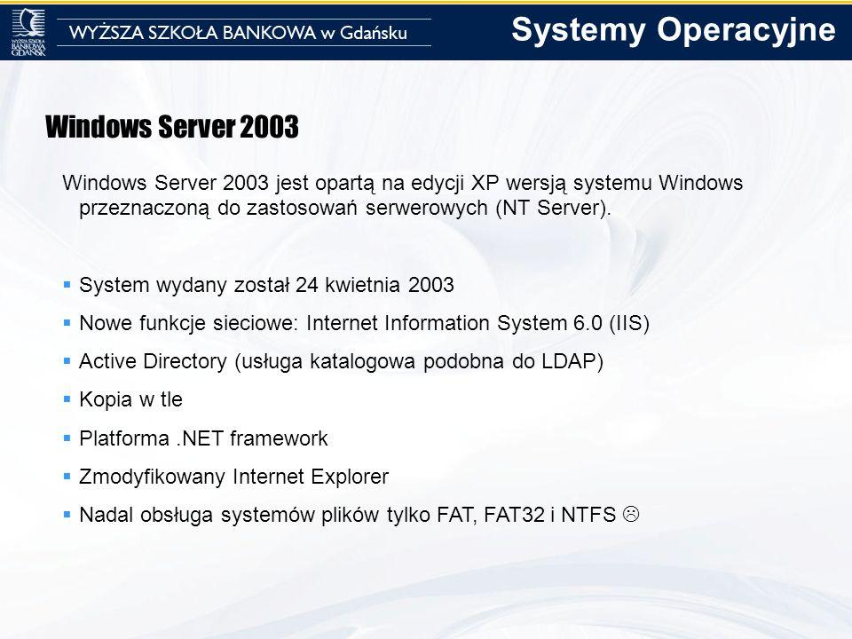 Windows Server 2003 Windows Server 2003 jest opartą na edycji XP wersją systemu Windows przeznaczoną do zastosowań serwerowych (NT Server). System wyd