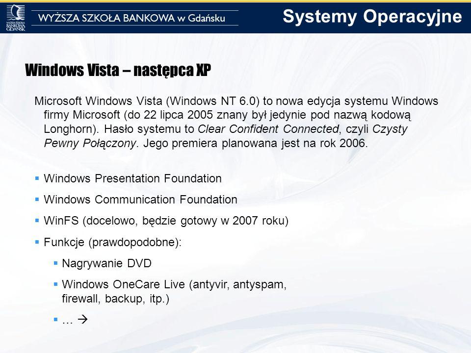Windows Vista – następca XP Microsoft Windows Vista (Windows NT 6.0) to nowa edycja systemu Windows firmy Microsoft (do 22 lipca 2005 znany był jedyni