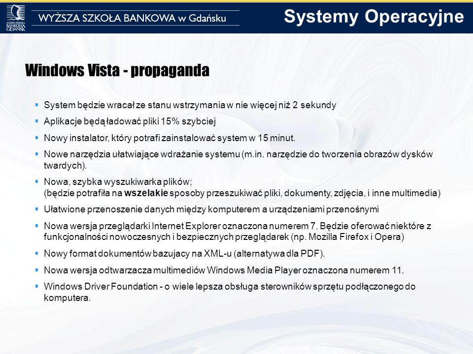 Windows Vista - propaganda System będzie wracał ze stanu wstrzymania w nie więcej niż 2 sekundy Aplikacje będą ładować pliki 15% szybciej Nowy instala