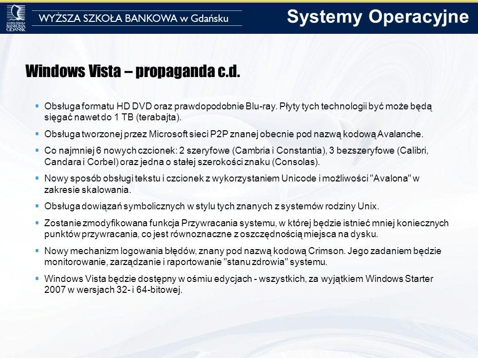 Windows Vista – propaganda c.d. Obsługa formatu HD DVD oraz prawdopodobnie Blu-ray. Płyty tych technologii być może będą sięgać nawet do 1 TB (terabaj