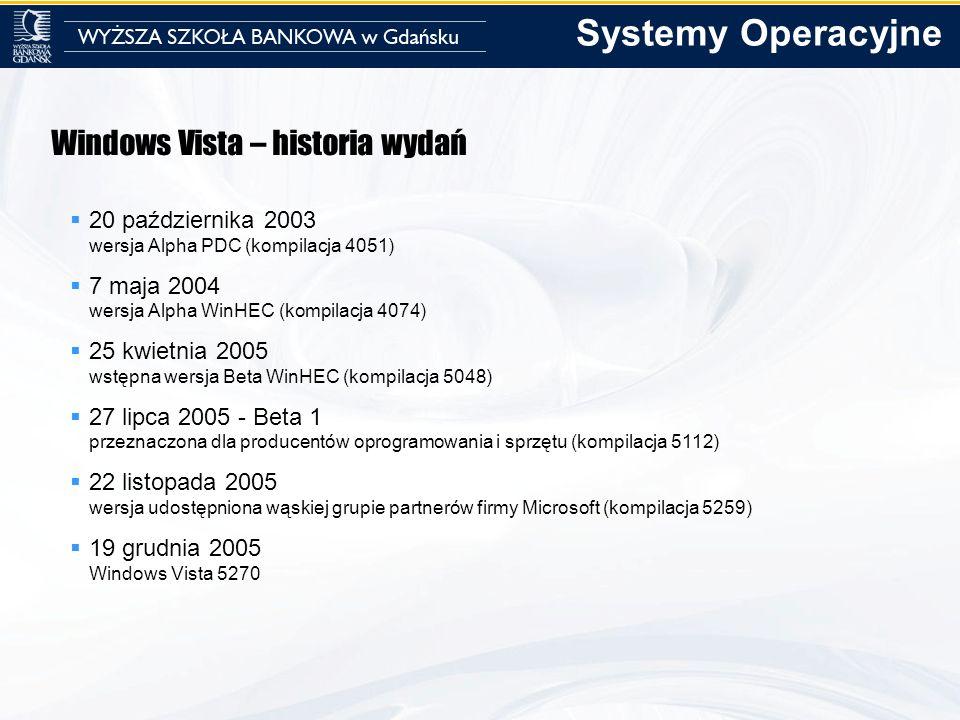 Windows Vista – historia wydań 20 października 2003 wersja Alpha PDC (kompilacja 4051) 7 maja 2004 wersja Alpha WinHEC (kompilacja 4074) 25 kwietnia 2