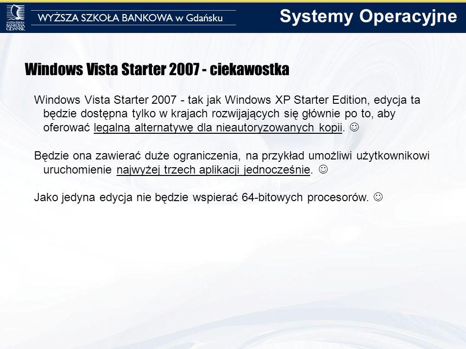 Windows Vista Starter 2007 - ciekawostka Windows Vista Starter 2007 - tak jak Windows XP Starter Edition, edycja ta będzie dostępna tylko w krajach ro