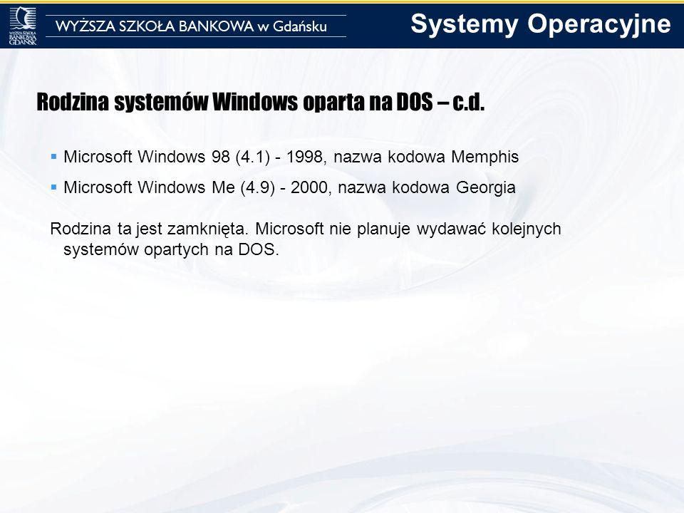 Rodzina systemów Windows oparta na DOS – c.d. Microsoft Windows 98 (4.1) - 1998, nazwa kodowa Memphis Microsoft Windows Me (4.9) - 2000, nazwa kodowa