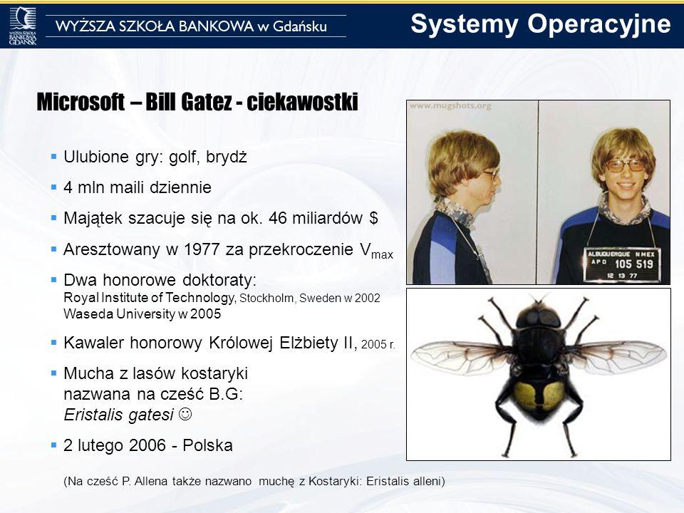 Microsoft – Bill Gatez - ciekawostki Ulubione gry: golf, brydż 4 mln maili dziennie Majątek szacuje się na ok. 46 miliardów $ Aresztowany w 1977 za pr