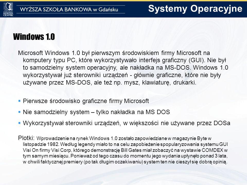 Windows 1.0 Microsoft Windows 1.0 był pierwszym środowiskiem firmy Microsoft na komputery typu PC, które wykorzystywało interfejs graficzny (GUI). Nie