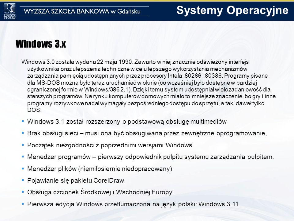 Windows 3.x Windows 3.0 została wydana 22 maja 1990. Zawarto w niej znacznie odświeżony interfejs użytkownika oraz ulepszenia techniczne w celu lepsze