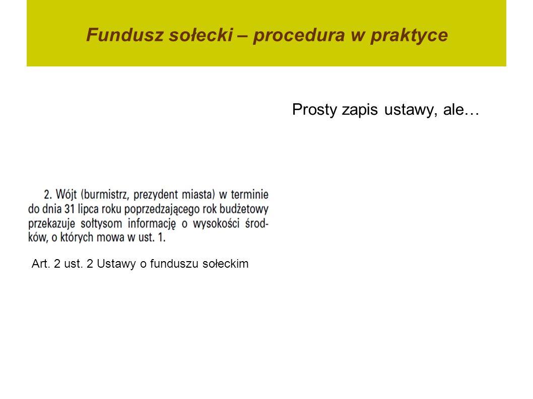 Fundusz sołecki – procedura w praktyce Art. 2 ust. 2 Ustawy o funduszu sołeckim Prosty zapis ustawy, ale…