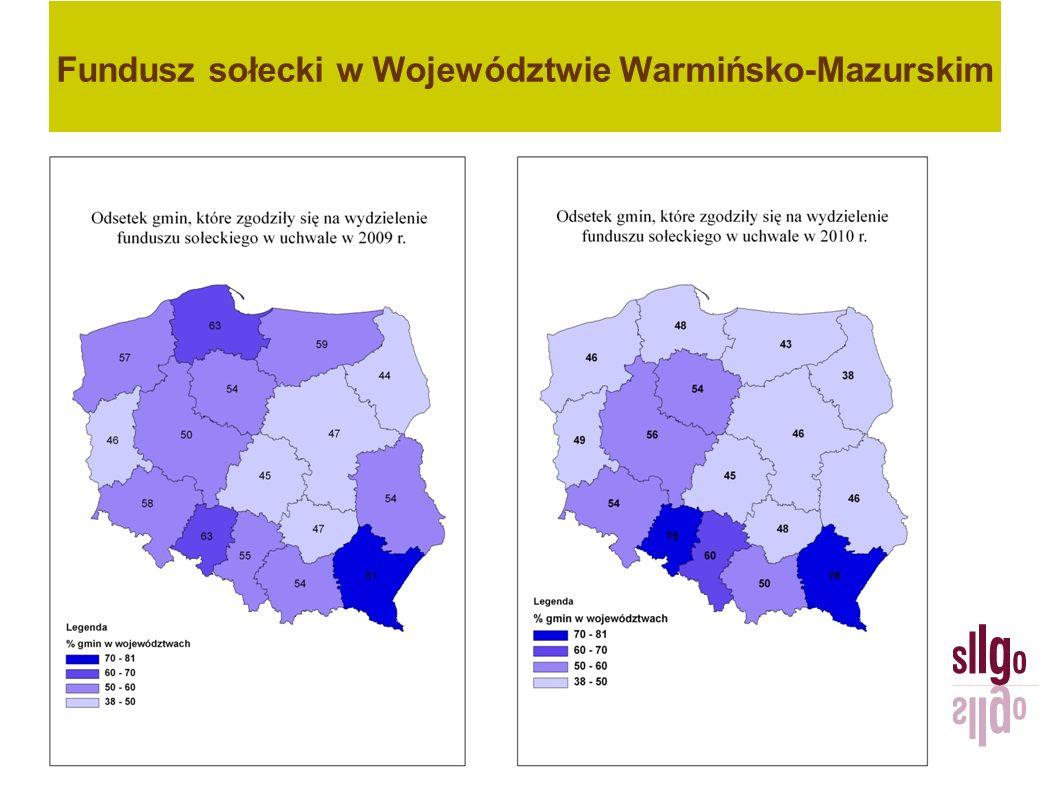 Fundusz sołecki – zwrot (fragment zestawienia) Źródło: Warmińsko-Mazurski Urząd Wojewódzki, 2011 r.