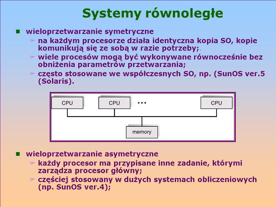 Systemy równoległe n wieloprzetwarzanie symetryczne. F na każdym procesorze działa identyczna kopia SO, kopie komunikują się ze sobą w razie potrzeby;