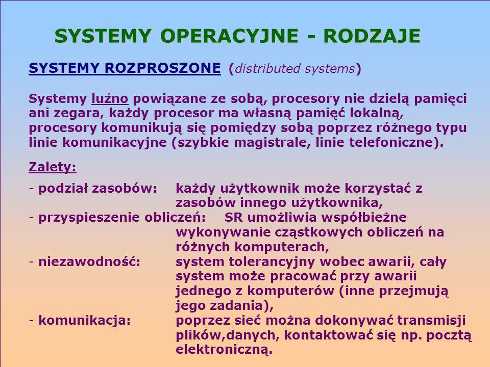 SYSTEMY OPERACYJNE - RODZAJE SYSTEMY ROZPROSZONE (distributed systems) Systemy luźno powiązane ze sobą, procesory nie dzielą pamięci ani zegara, każdy
