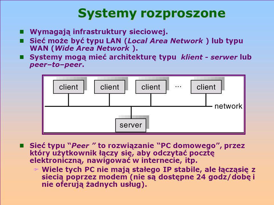 Systemy rozproszone n Wymagają infrastruktury sieciowej. n Sieć może być typu LAN (Local Area Network ) lub typu WAN (Wide Area Network ). n Systemy m