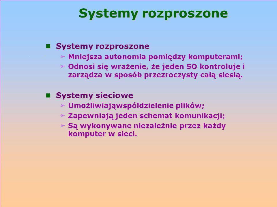 Systemy rozproszone n Systemy rozproszone F Mniejsza autonomia pomiędzy komputerami; F Odnosi się wrażenie, że jeden SO kontroluje i zarządza w sposób