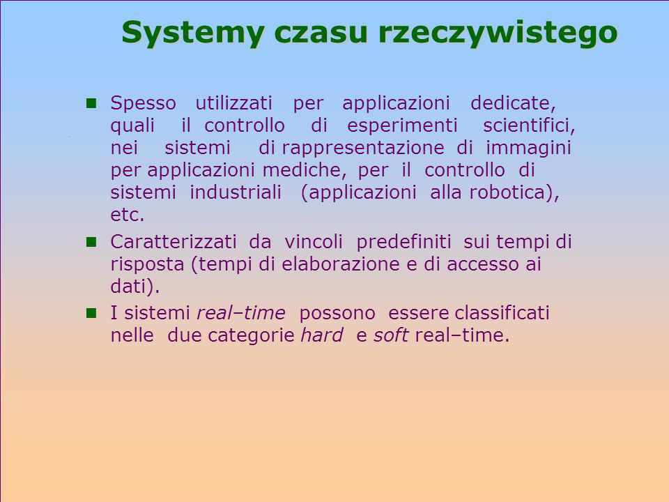 Systemy czasu rzeczywistego n Spesso utilizzati per applicazioni dedicate, quali il controllo di esperimenti scientifici, nei sistemi di rappresentazi