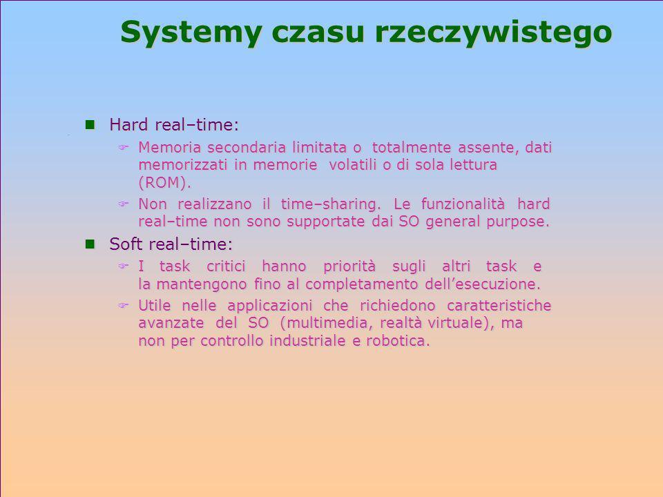 Systemy czasu rzeczywistego n Hard real–time: F Memoria secondaria limitata o totalmente assente, dati memorizzati in memorie volatili o di sola lettu