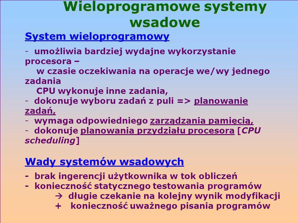 Wieloprogramowe systemy wsadowe System wieloprogramowy - umożliwia bardziej wydajne wykorzystanie procesora – w czasie oczekiwania na operacje we/wy j