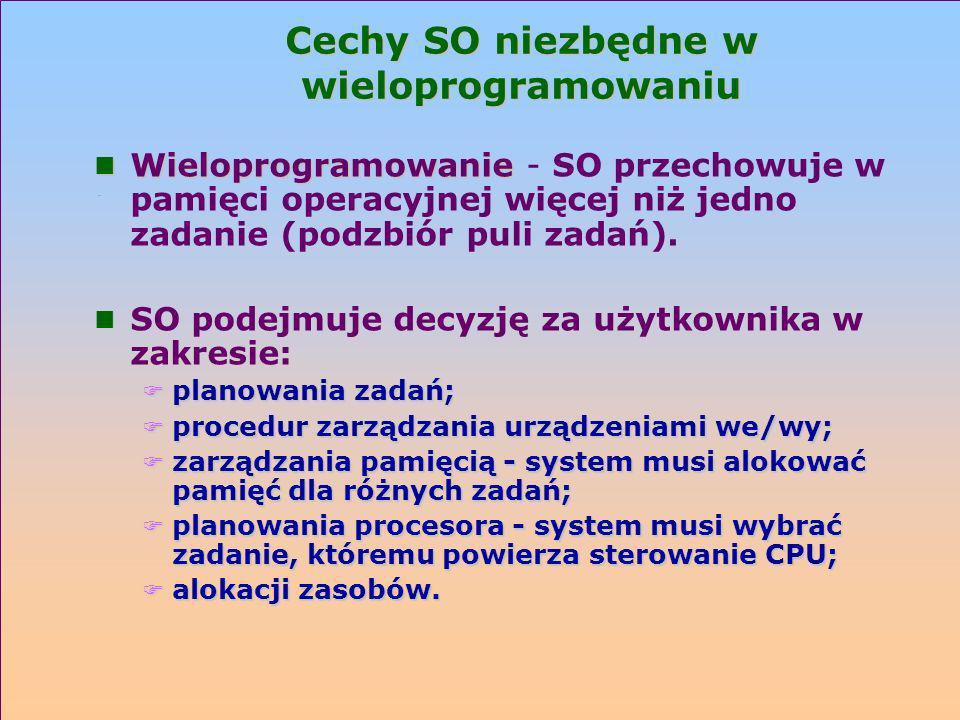 Cechy SO niezbędne w wieloprogramowaniu n Wieloprogramowanie n Wieloprogramowanie - SO przechowuje w pamięci operacyjnej więcej niż jedno zadanie (pod