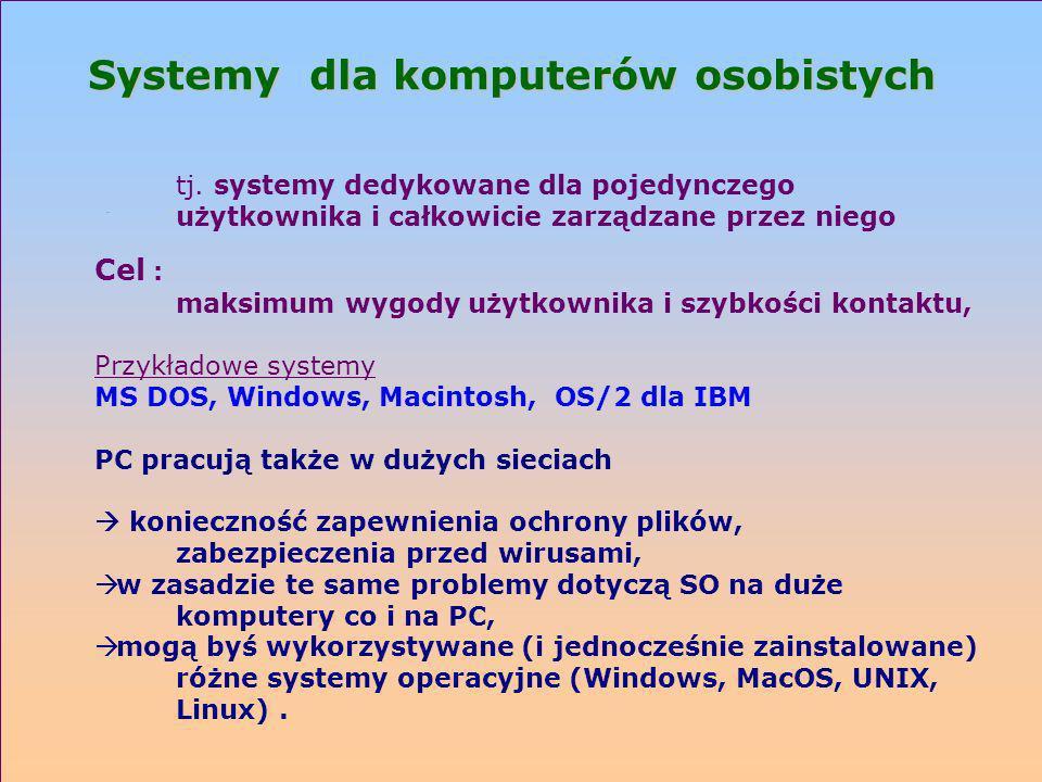 Systemy dla komputerów osobistych tj. systemy dedykowane dla pojedynczego użytkownika i całkowicie zarządzane przez niego Cel : maksimum wygody użytko