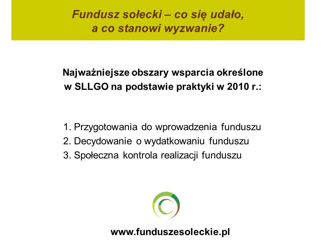 www.funduszesoleckie.pl Fundusz sołecki – co się udało, a co stanowi wyzwanie? Najważniejsze obszary wsparcia określone w SLLGO na podstawie praktyki