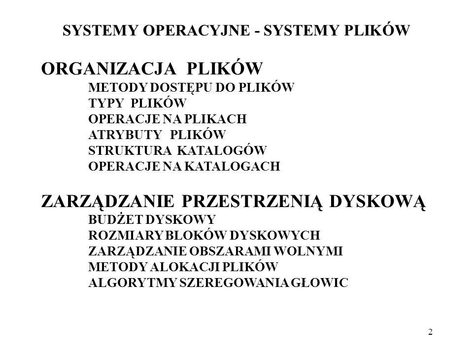 23 SYSTEMY OPERACYJNE - SYSTEMY PLIKÓW BUDOWA SYSTEMÓW PLIKÓW Struktura: - logiczny system plików (logical file system), - moduł organizacji plików (file organisation module), - podstawowy system plików (basic file system), - sterownik operacji we/wy (I/O control), - urządzenia (devices).