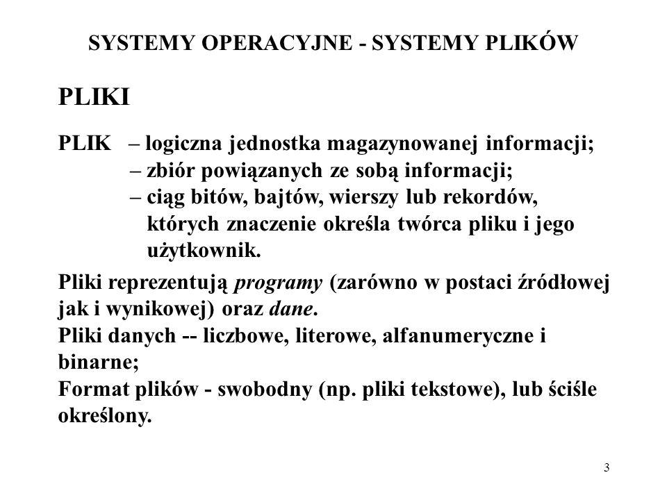 4 SYSTEMY OPERACYJNE - SYSTEMY PLIKÓW ORGANIZACJA PLIKÓW REKORD FIZYCZNY - blok dyskowy – jednostka operacji dyskowych o jednakowych rozmiarach; REKORD LOGICZNY - najmniejsza jednostka informacji, używana w operacjach użytkownika;