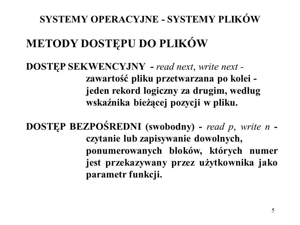 6 SYSTEMY OPERACYJNE - SYSTEMY PLIKÓW METODY DOSTĘPU DO PLIKÓW (cd) DOSTĘP Z WYKORZYSTANIEM INDEKSÓW - indeks plików (skorowidz), zawierający wskaźniki do bloków danego pliku.
