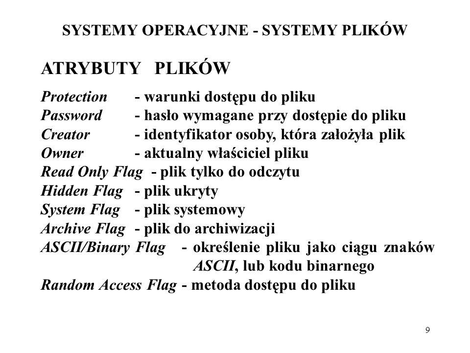20 SYSTEMY OPERACYJNE - SYSTEMY PLIKÓW METODY ZARZĄDZANIA OBSZARAMI WOLNYMI Mapa bitowa (wektor bitowy) (bit map, bit vector): każdy blok reprezentowany przez 1 bit; efektywna, jeśli jest w PAO, kopia na dysku.