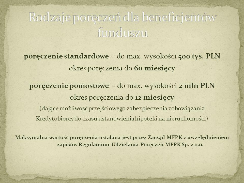 poręczenie standardowe – do max. wysokości 500 tys. PLN okres poręczenia do 60 miesięcy poręczenie pomostowe – do max. wysokości 2 mln PLN okres poręc