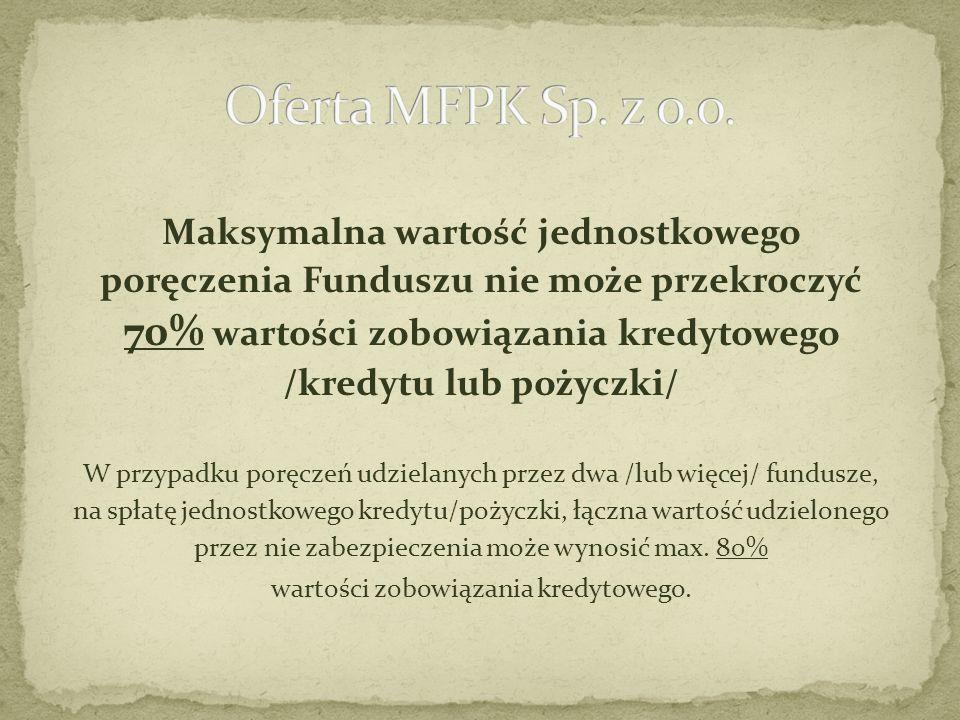 Maksymalna wartość jednostkowego poręczenia Funduszu nie może przekroczyć 70% wartości zobowiązania kredytowego /kredytu lub pożyczki/ W przypadku por