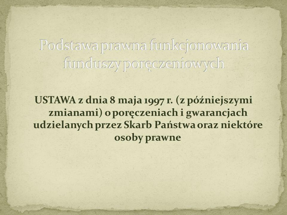 USTAWA z dnia 8 maja 1997 r. (z późniejszymi zmianami) o poręczeniach i gwarancjach udzielanych przez Skarb Państwa oraz niektóre osoby prawne