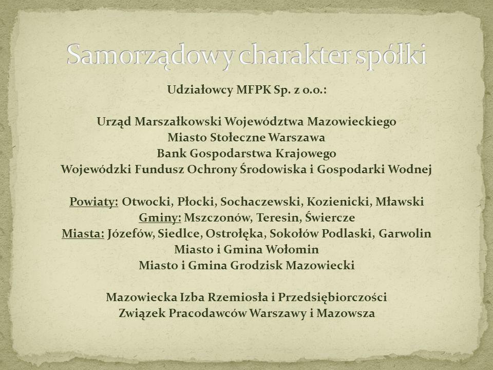 Udziałowcy MFPK Sp. z o.o.: Urząd Marszałkowski Województwa Mazowieckiego Miasto Stołeczne Warszawa Bank Gospodarstwa Krajowego Wojewódzki Fundusz Och