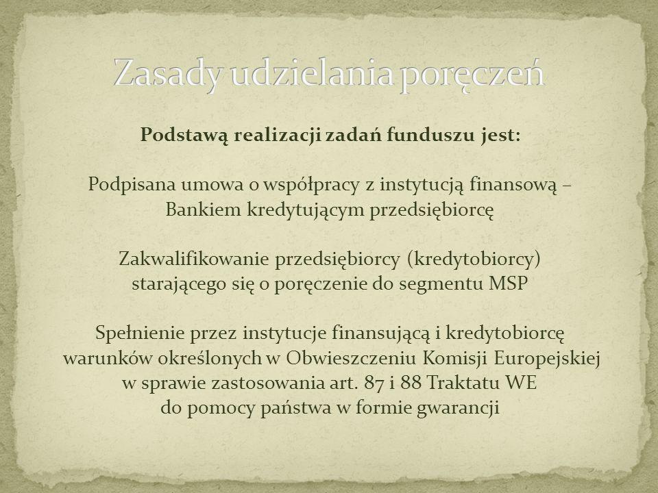 Podstawą realizacji zadań funduszu jest: Podpisana umowa o współpracy z instytucją finansową – Bankiem kredytującym przedsiębiorcę Zakwalifikowanie pr