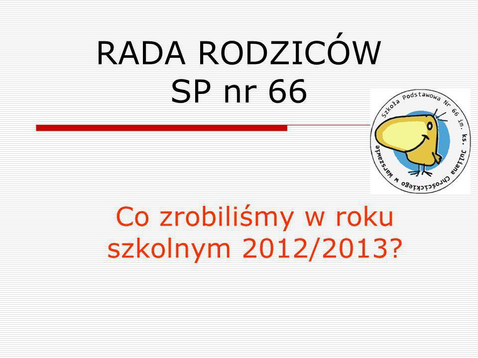 RADA RODZICÓW SP nr 66 Co zrobiliśmy w roku szkolnym 2012/2013?