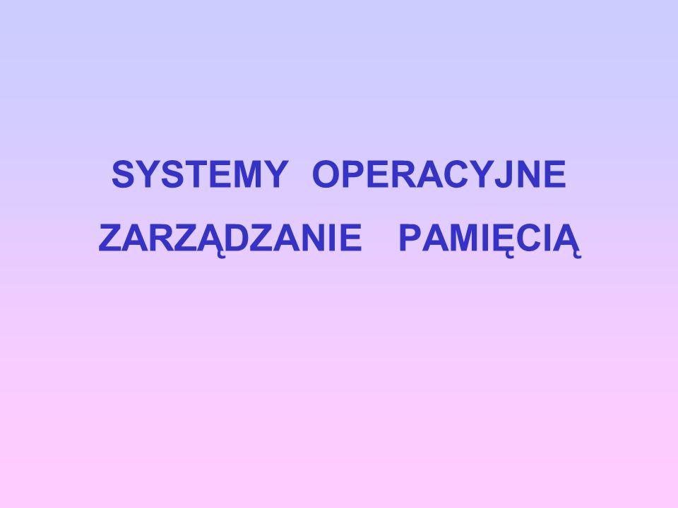 SYSTEMY OPERACYJNE ZARZĄDZANIE PAMIĘCIĄ