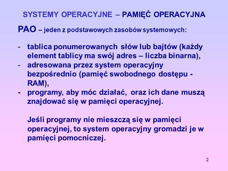 2 SYSTEMY OPERACYJNE – PAMIĘĆ OPERACYJNA PAO – jeden z podstawowych zasobów systemowych: - tablica ponumerowanych słów lub bajtów (każdy element tabli