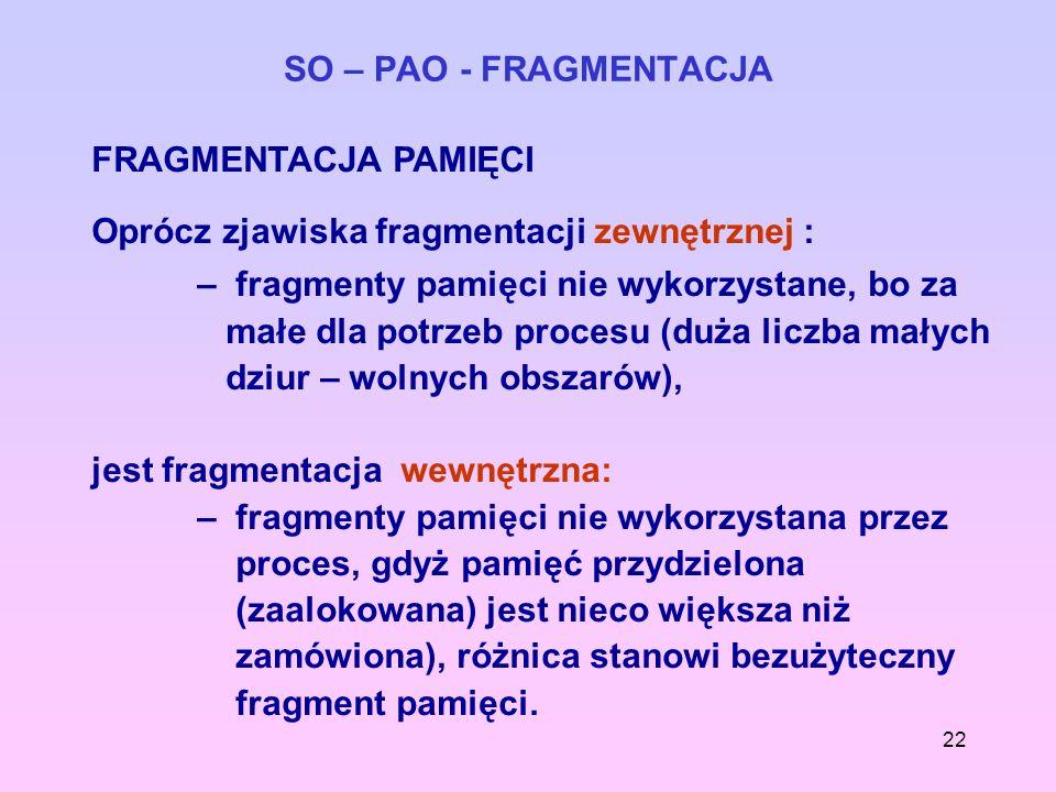 22 SO – PAO - FRAGMENTACJA FRAGMENTACJA PAMIĘCI Oprócz zjawiska fragmentacji zewnętrznej : – fragmenty pamięci nie wykorzystane, bo za małe dla potrze
