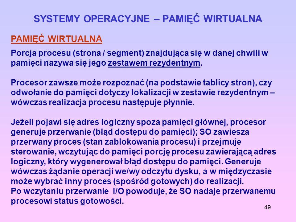 49 SYSTEMY OPERACYJNE – PAMIĘĆ WIRTUALNA PAMIĘĆ WIRTUALNA Porcja procesu (strona / segment) znajdująca się w danej chwili w pamięci nazywa się jego ze