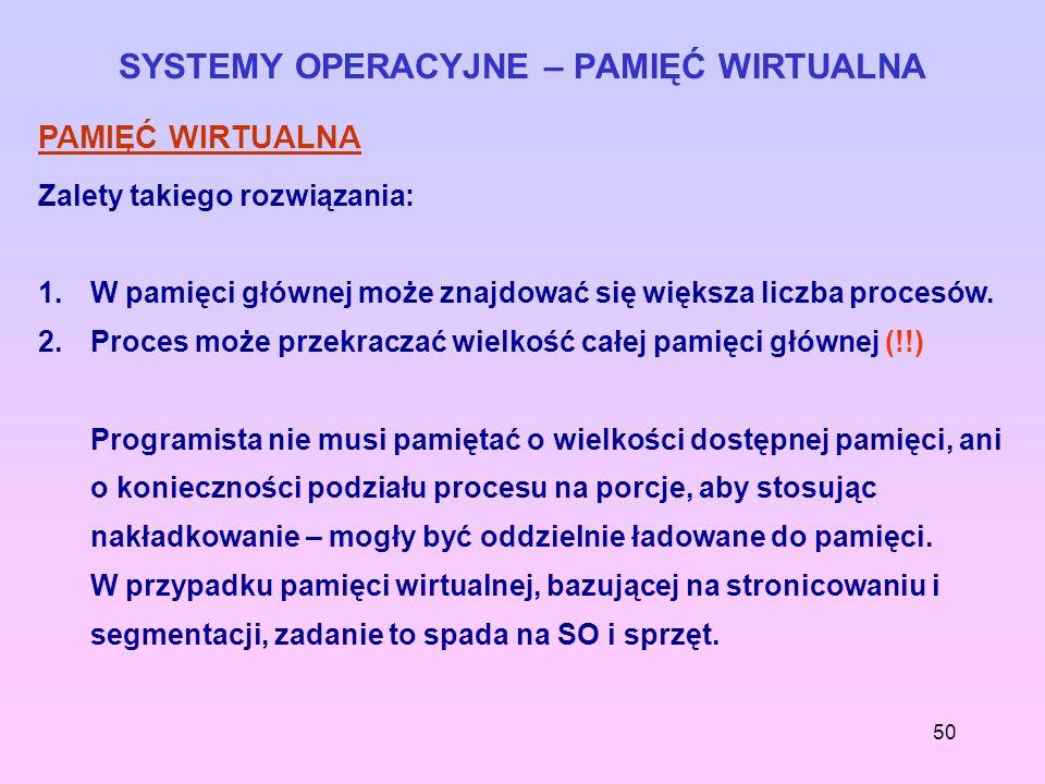 50 SYSTEMY OPERACYJNE – PAMIĘĆ WIRTUALNA PAMIĘĆ WIRTUALNA Zalety takiego rozwiązania: 1.W pamięci głównej może znajdować się większa liczba procesów.