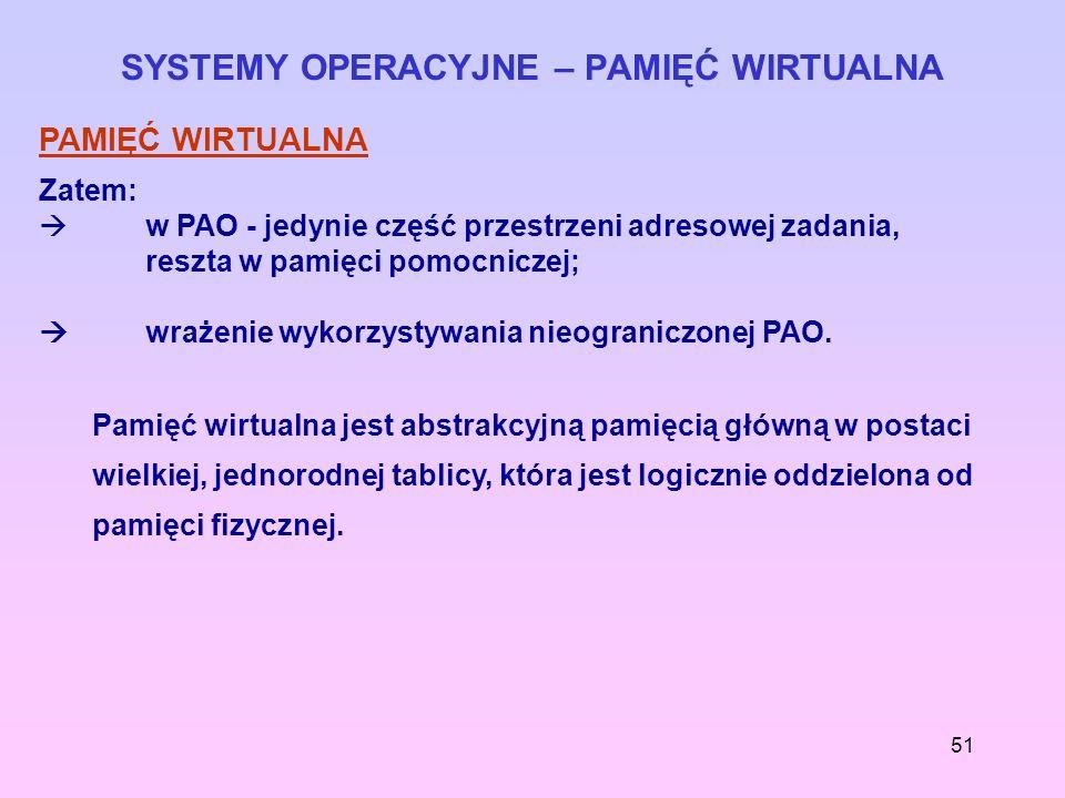 51 SYSTEMY OPERACYJNE – PAMIĘĆ WIRTUALNA PAMIĘĆ WIRTUALNA Zatem: w PAO - jedynie część przestrzeni adresowej zadania, reszta w pamięci pomocniczej; wr