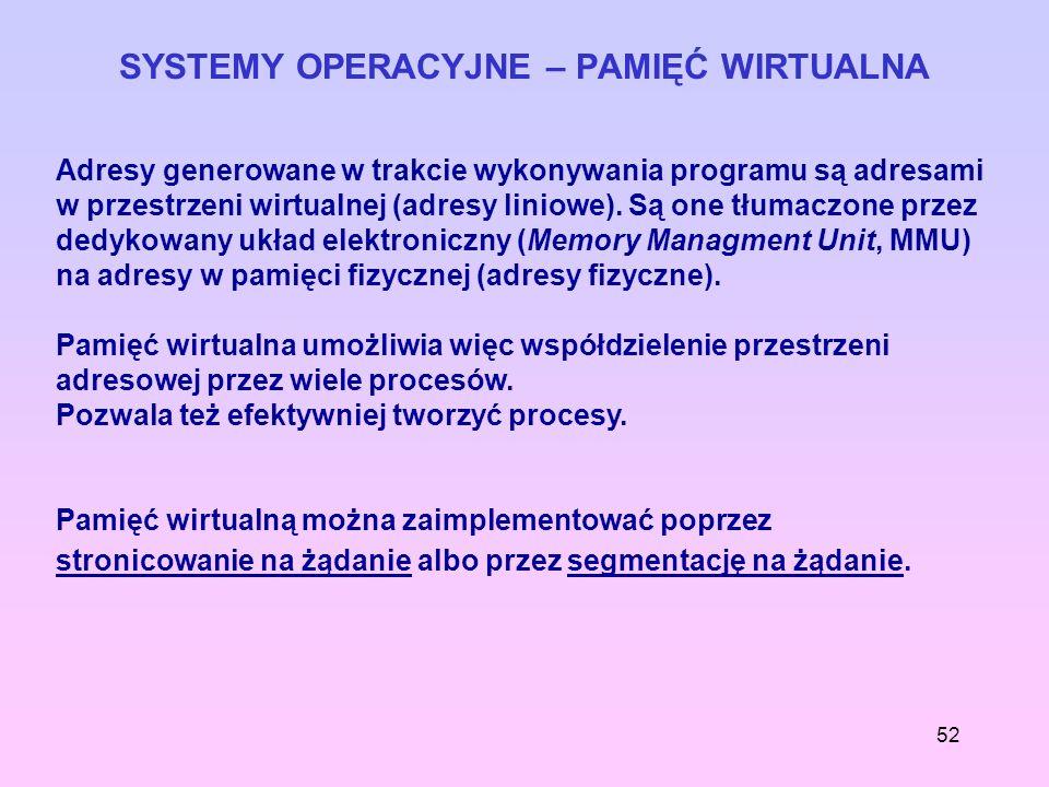 52 SYSTEMY OPERACYJNE – PAMIĘĆ WIRTUALNA Adresy generowane w trakcie wykonywania programu są adresami w przestrzeni wirtualnej (adresy liniowe). Są on