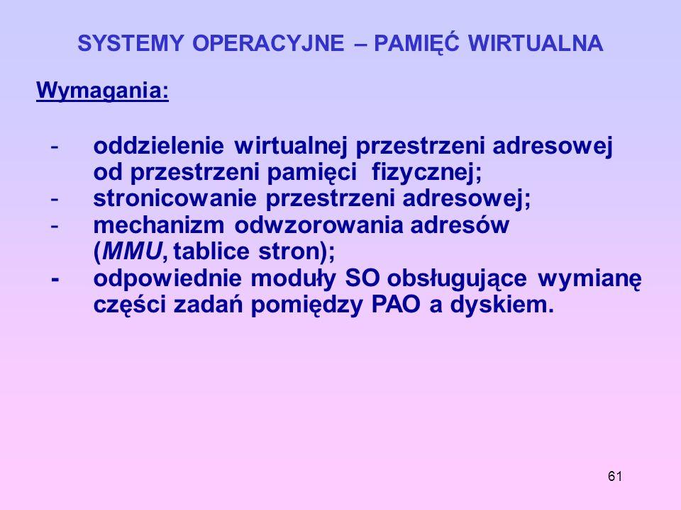 61 SYSTEMY OPERACYJNE – PAMIĘĆ WIRTUALNA Wymagania: -oddzielenie wirtualnej przestrzeni adresowej od przestrzeni pamięci fizycznej; -stronicowanie prz