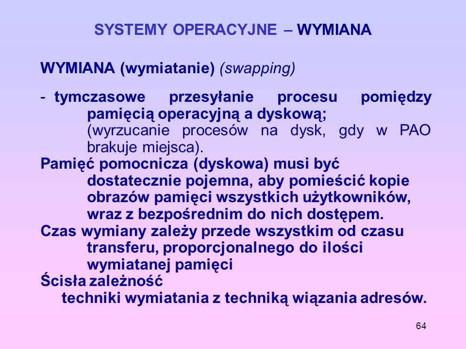 64 SYSTEMY OPERACYJNE – WYMIANA WYMIANA (wymiatanie) (swapping) - tymczasowe przesyłanie procesu pomiędzy pamięcią operacyjną a dyskową; (wyrzucanie p
