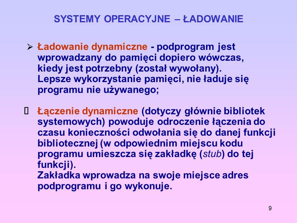 9 SYSTEMY OPERACYJNE – ŁADOWANIE Ładowanie dynamiczne - podprogram jest wprowadzany do pamięci dopiero wówczas, kiedy jest potrzebny (został wywołany)
